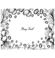 hand drawn frame of blueberry flax lily and cranbe vector image