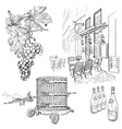 Hand Drawn Vineyard Set vector image vector image
