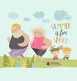 happy grangparents doing sport with little vector image vector image