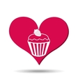 heart red cartoon cupcake strawberry icon design vector image vector image