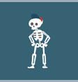 human skeleton wearing baseball cap standing with vector image vector image