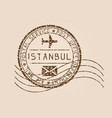 istanbul mail stamp old faded retro styled vector image vector image