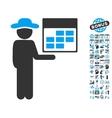 Man Calendar Flat Icon With Bonus vector image vector image