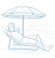 Man relaxing on beach chair vector image vector image