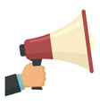 megaphone in hand icon flat style vector image