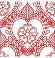 mehendi seamless pattern of red lines on a white vector image vector image