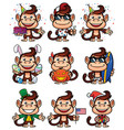 monkey holiday set vector image vector image