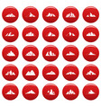 mountain icons set vetor red vector image vector image