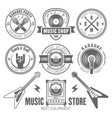 music shop recording studio karaoke club labels vector image