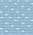 paper boats and sea waves seamless pattern vector image vector image