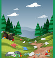 pollution in the national park vector image vector image