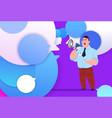 profile businessman hold megaphone new idea chat vector image