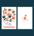 pudding and hot drink christmas card vector image