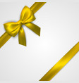 realistic golden bow with gold yellow ribbons vector image vector image
