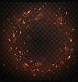 round fire sparks frame with burning embers in air vector image vector image