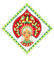 russian beauty in kokoshnik vector image vector image