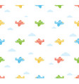 seamless colorful airplane pattern with cloud vector image