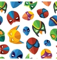 seamless pattern of super hero masks in flat style vector image