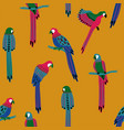 seamless pattern with colorful parrots vector image vector image
