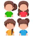 set of brunette female character vector image vector image