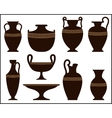 Silhouettes of ancient vases with ornament vector image