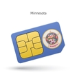 state minnesota phone sim card with flag vector image vector image