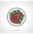 Steak flat color icon vector image vector image