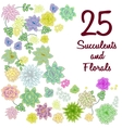 Succulent garden clip art flowers element set vector image