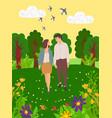 summer landscape happy dating lovers walk together vector image vector image