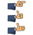 Three funny hands vector image vector image