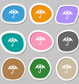 Umbrella icon symbols Multicolored paper stickers vector image