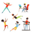 virtual reality gamer funny and happy characters vector image vector image
