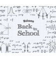 Welcome back to school with formula in notebook vector image vector image