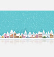 Winter town flat style with snow falling and