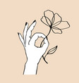 womens hand holding flower trendy linear and vector image vector image