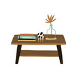 wooden rectangular coffee table with vase books vector image vector image