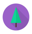 Flat Christmas Tree Circle Icon with Long Shadow vector image
