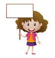 little girl holding white sign vector image