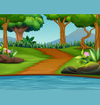 a beautiful green nature landscape background vector image vector image