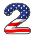 a number two figure with the usa symbols vector image vector image