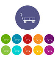 big trolley icons set color vector image vector image