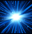 blue explosion background with rays vector image