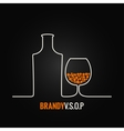 brandy glass bottle menu background vector image vector image