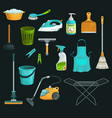 bucket soap mop broom house cleaning icons vector image