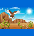 cartoon eagle bird and snake living in the desert vector image vector image