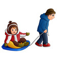 cartoon father pulling a son on a sled vector image