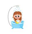 cartoon girl kid washing in bathtub vector image vector image