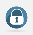 Circle blue icon with shadow padlock vector image