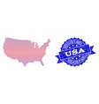 composition of gradiented dotted map of usa and vector image vector image
