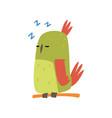cute bird sleeping on perch funny birdie cartoon vector image vector image